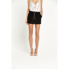 Miss Selfridge Black Suede Shorts