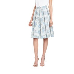 Miss Selfridge Blue Floral Pleated Midi Skirt