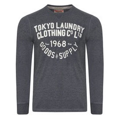 Tokyo Laundry Point Hendrick Felt Applique Long Sleeve Sweatshirt
