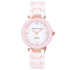 Anne Klein Mineral Genuine Diamond Blush Pink Ceramic Ladies Watch- AK/N1018RGLP