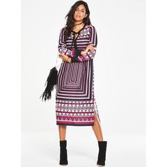 V By Very Printed Fringe Detail Midi Dress