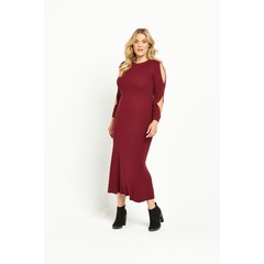 Lost Ink Curve Swing Cold Shoulder Dress