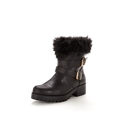 V By Very Marni Fur Cuff Casual Buckle Boots