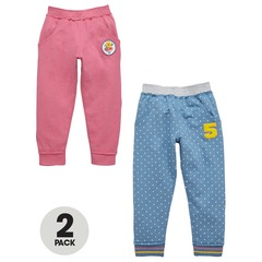 Ladybird Girls Pack Of Two Spot And Solid Joggers