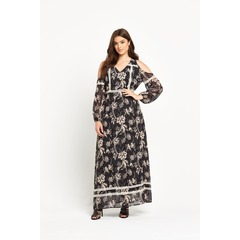 Lost Ink Curve Cold Shoulder Maxi Dress With Lace Trim