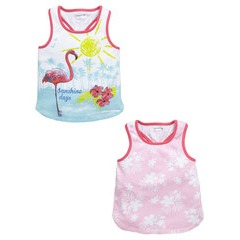 Ladybird Girls 2 Pack Tropical Vests