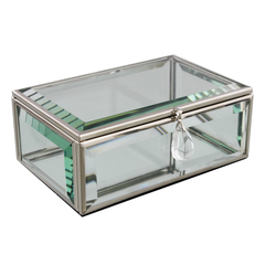 Hestia Glass Oblong Jewellery Box With Crystal Pendant