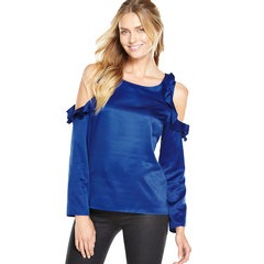 V By Very Ruffle Coldshoulder Longsleeve Blouse