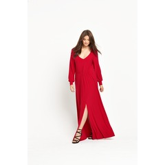 So Fabulous Long Sleeve Plunge Maxi Dress