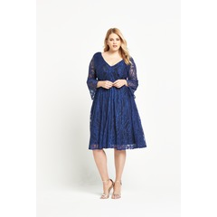 Lost Ink Curve Skater Dress With Lace Bell Sleeve Dress