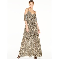 V By Very Animal Cold Shoulder Printed Maxi Dress