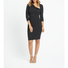Very Curved Neckline Pencil Dress
