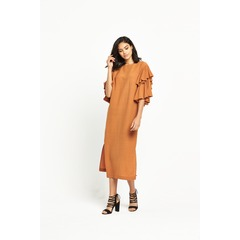 Warehouse Ruffle Midi Dress