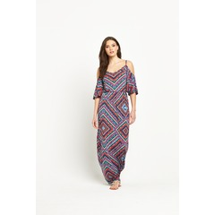 V by Very V Neck Cold Shoulder Jersey Maxi Dress