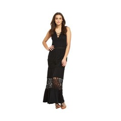 V By Very Sleeveless Front Lace Up Crochet Insert Maxi Dress