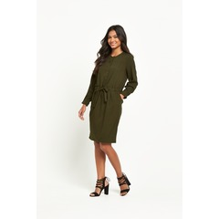 Warehouse Soft Pleat Belted Dress