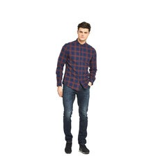 V By Very Mens Long Sleeve Large Scale Check Shirt
