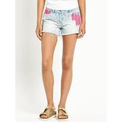 Love Label Neon Embroidered Denim Shorts