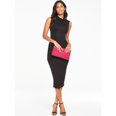 V By Very Roll Neck Ruched Sleeveless Midi Dress