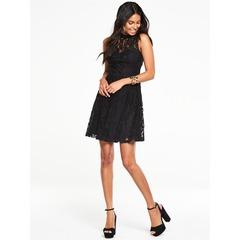 V By Very High Neck Sleeveless Lace Dress