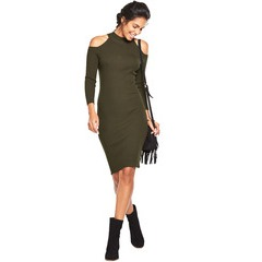 V By Very Cut Out Shoulder Skinny Rib Dress