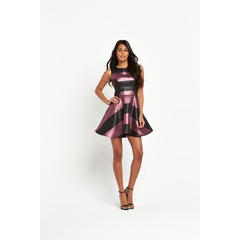 V By Very Metallic Stripe Prom Dress
