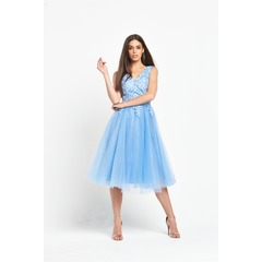 Chi Chi London Embroidered V Neck  Midi Dress With Tulle Skirt
