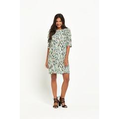 Warehouse Zig Zag Print Ruffle Dress