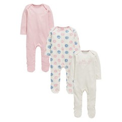 Ladybird Baby Girls Pack of Three Princess Polka Dot Sleepsuits