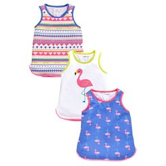 Ladybird Girls 3 Pack Flamingo Print Vests
