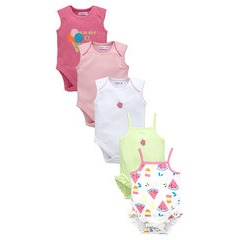 Ladybird Baby Girls Pack of Five Summer Brights Bodysuits