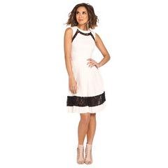 Myleene Klass Sleeveless Pleat Skirt Lace Skater Midi Dress