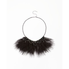 Feather Diamante Detail Necklace