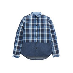 V By Very Boys Check And Chambray Panel Shirt
