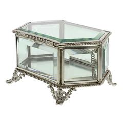 Hestia Glass & Metal Rope Design Hexagonal Jewellery Box