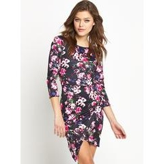 Club L Asymetric Floral Scuba Dress