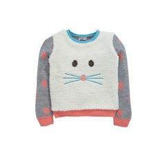 Ladybird Toddler Girls Cosy Borg Applique Mouse Jumper