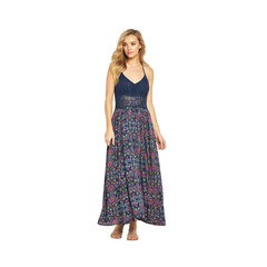 V By Very Crinkle Floral Print Crochet Halter Maxi Dress