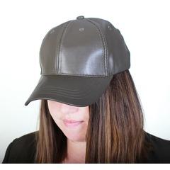Ladies Khaki PU Baseball Cap