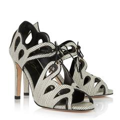 Lola Cruz Lace-Up Scalloped Sandals