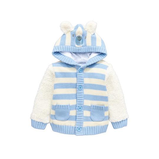 Ladybird Baby Boys Teddy Bear Fleece Mix Hooded Cardigan