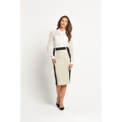 Savoir Textured Crepe Colour Block Pencil Skirt
