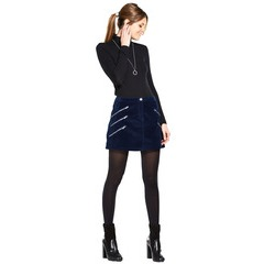 V By Very Multi Zip Velvet Mini Skirt
