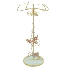 Peach Butterfly Embellished Jewellery Stand