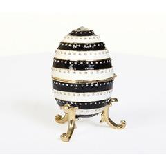 Black and White Stripe Heart Egg Trinket Box