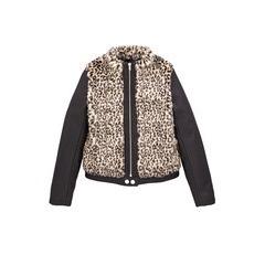 Freespirit Girls Fur Bomber Jacket With Pu Sleeves