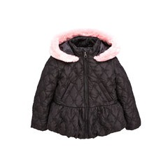 Ladybird Toddler Girls Bow Quilted Coat With Fur Trim