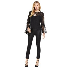Very Lace Panel Split Sleeve Blouse