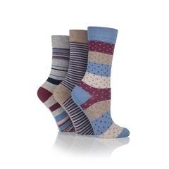 Jennifer Anderton Pack of 3 Stripe & Spot Design Socks