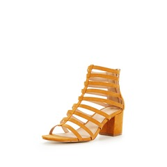 V by Very Fort Mid Block Heel Caged Sandals